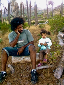 On Phone in Forest Cape Town